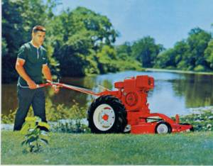 model W with rotary mower